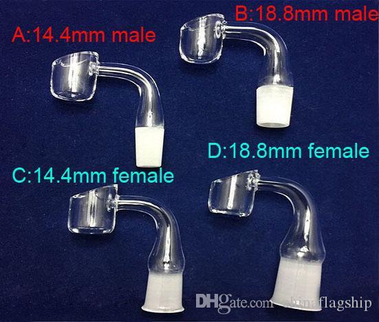 열 및 빠른 내구성 90도 Domeless Quartz Banger 못 맞는 14.4mm 18.8mm 남성 여성 무료 배송