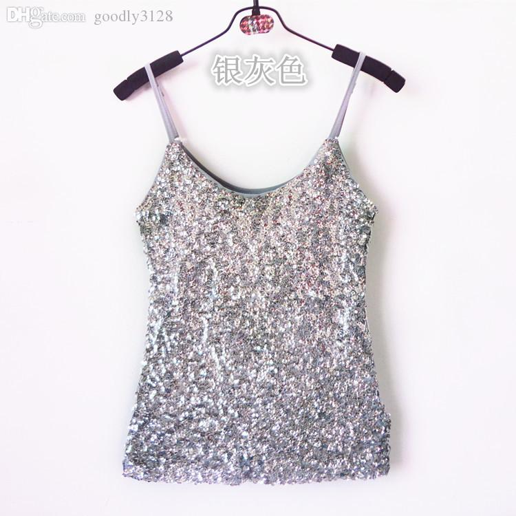 389268f3776b6 2019 Wholesale Womens Summer Camis Tank Top Gold Blue White Black Ladies Sequin  Vest Top Women Shining Bling Sleeveless Vest Sequin Top T Shirt From ...