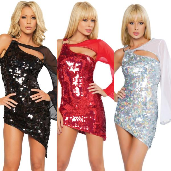 2019 Sexy Club Dresses For Womens Cut Out Sequin One