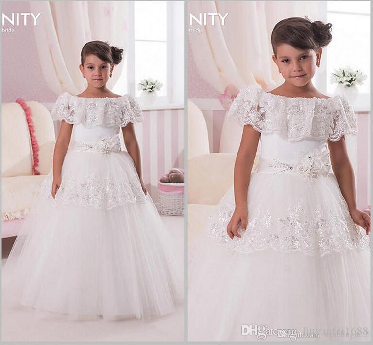 Scoop Lace Beaded Ball Gown palabra de longitud Baby Girl Birthday Party Vestidos de Navidad Niños Niña Vestidos de fiesta Vestidos de niña de las flores
