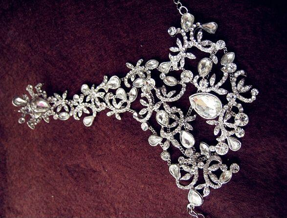 Pulseras con encanto de novia perfecta para la mano Joyas con cuentas de cristal Accesorios nupciales de la boda Cadena de mano con anillos Envío gratis