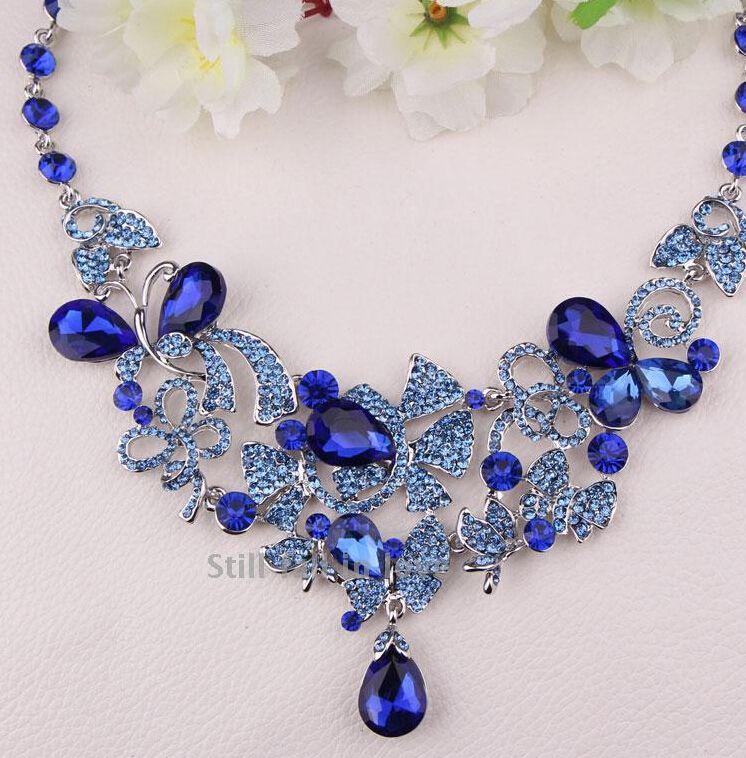Cheap Royalblue Color Bridal Jewelry Crystal Headwear Earrings
