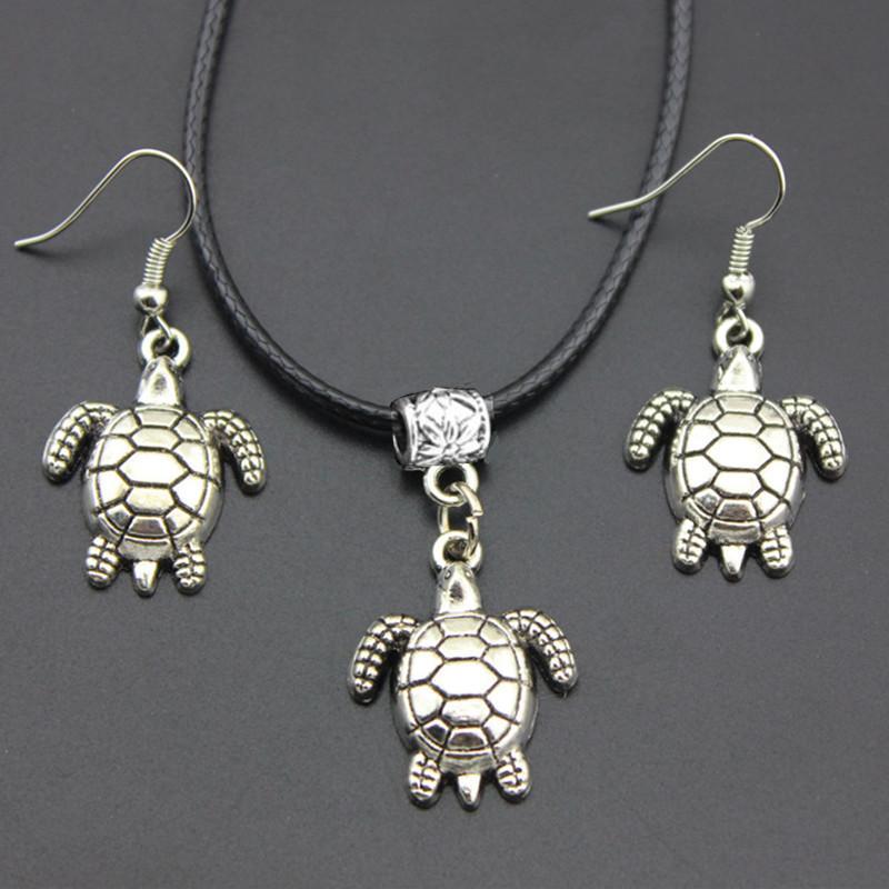 all'ingrosso della ragazza di modo delle donne tribale stile vintage argento carino tartarughe marine ciondolo collana orecchini gancio set di gioielli regalo TZ20