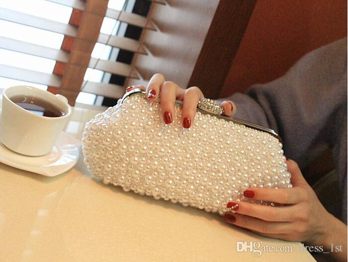 Hot Style Fashion Beaded Women's Handbag Full Pearl Bridal Satin Party Clutch Woman Bags For Evening Wedding