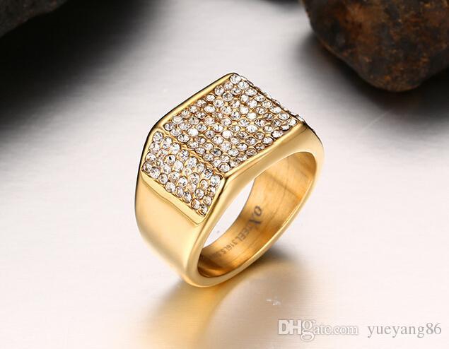 Nuovo di alta qualità in acciaio placcato oro donne uomini regalo 11mm larga banda anello con shinning cristalli trapano 7 # -12 #