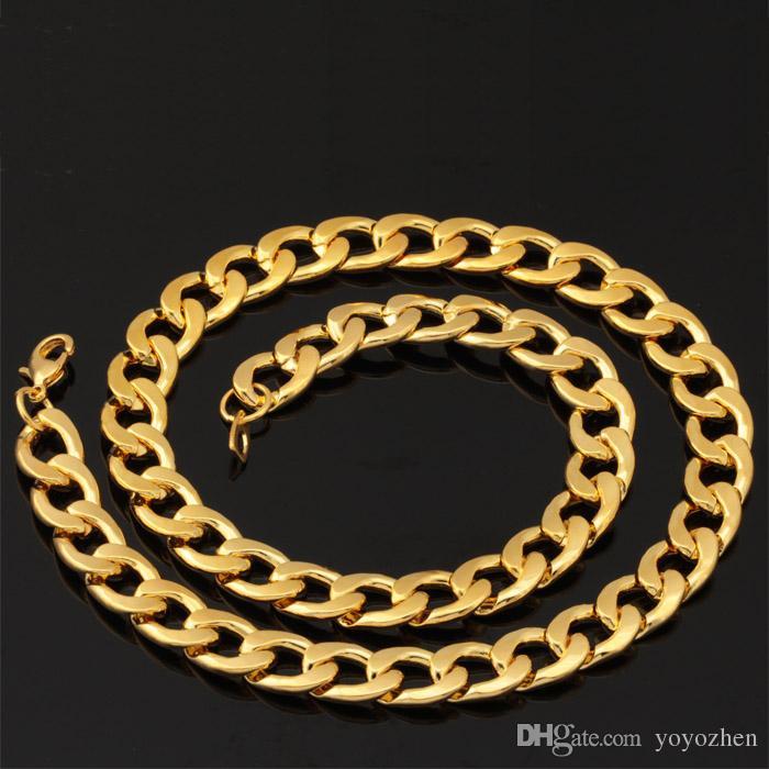 18K Guldpläterad Chunky Halsband Armbandskedjor 18K Stämpel Mäns Högkvalitativa Snake Halsband 11mm 55cm 22 '' Wholesale YS754