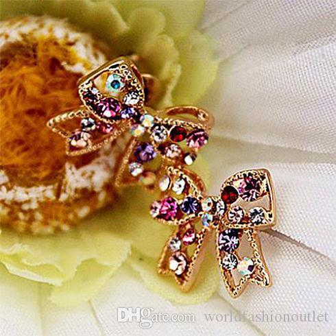 Sweet Lovely Bow Crystal stud earrings Colorful Crystal Gold Bowknot Bow Chic Ear Stud Charm Earrings Women Fashion Jewelry diamante Earing