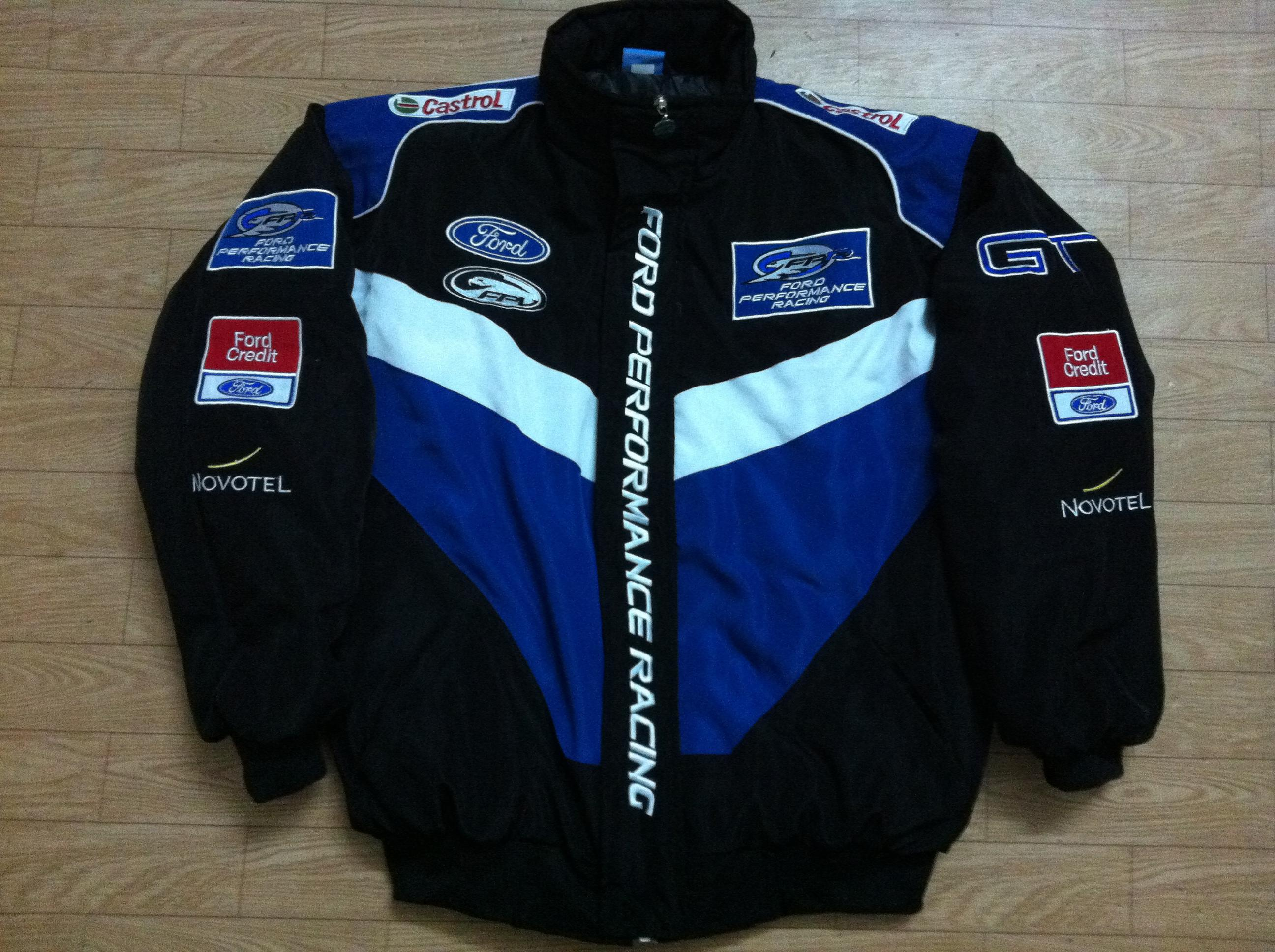 Embroidery logo f1 fia nascar indycar v8 supercar racing cotton jacket ford performance racing jacket a163 outerwear mens jackets denim jacket sheepskin