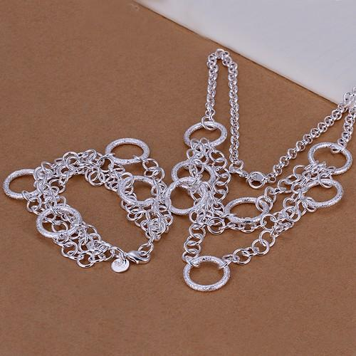heavy 68g Sterling plated silver jewelry set fit unisex S57,High quality 925 silver necklace charm bracelet,Wholesale retail