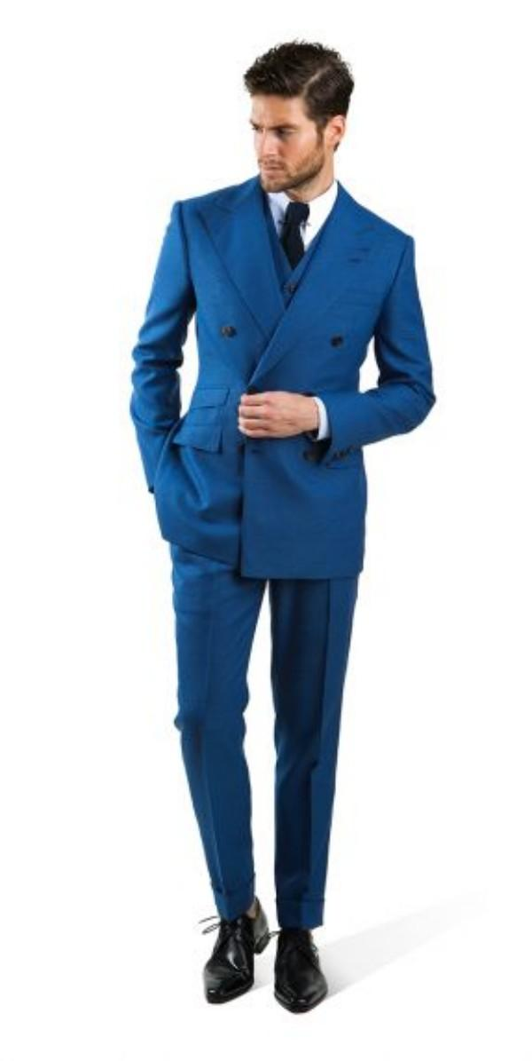 Vintage Blue Peaked Lapel Wedding Suits For Men 2015 Tuxedos ...