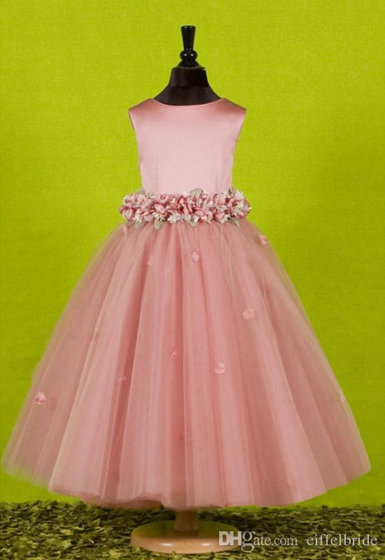 Op maat gemaakte mooie roze bloem meisjes jurken voor bruiloften 2016 vrij formele meisjes jassen schattige satijn puffy tule pageant jurk lente