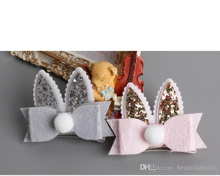 One Set Glitter Cartoon Double Rabbit Ears Hair Clips Hair Bow Princess Barrette Hairpin Kids Hair Accessories Beautiful HuiLin B105