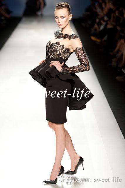 Sexy Petite Noir Robes De Fête Courtes Longueur Au Genou Satin Peplum Manches Longues 2019 Zuhair Murad Robes Du Soir Des Célébrités Robes De Cocktail