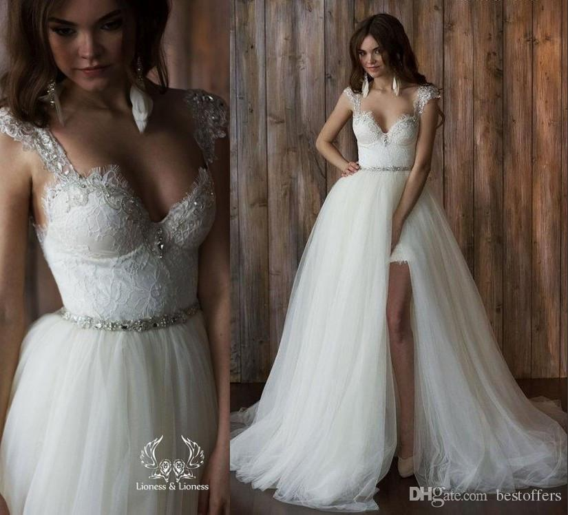 Cheap 2016 Crystal Beads Wedding Dresses Lace Mermaid Spaghetti Straps V Neck Backless Applique Sheer Bridal Gowns High Quality As Low 26265