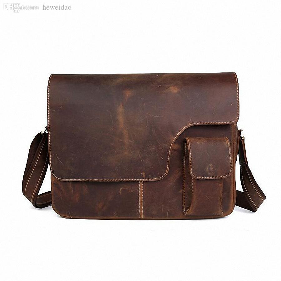 b790585df8f8 Wholesale Crazy Horse Leather Vintage Men S Messenger Bag 100% Genuine  Leather Cross Body 17 Inches Laptop Shoulder Bags Briefcase Designer  Handbags On Sale ...