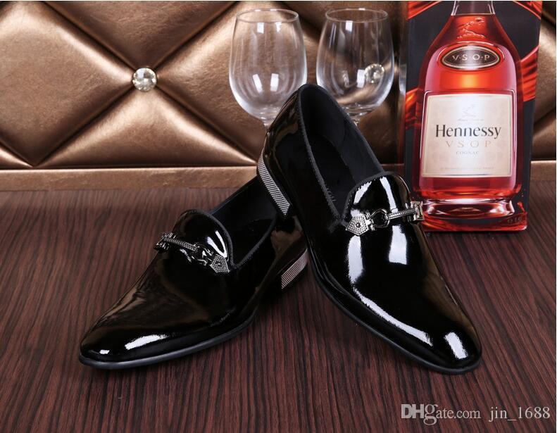 Plus Size 39-4 2017 Novos Sapatos Masculinos de Couro Genuíno Estilo de Negócios de Moda Sapatos de Casamento Vestido de Patente de Couro para Homens