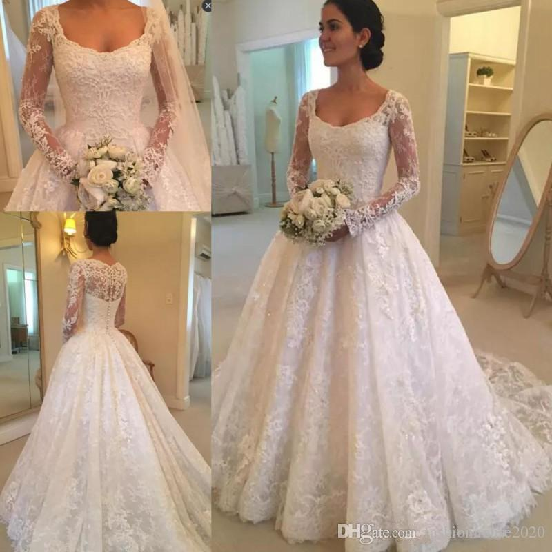 2018 Vintage Ball Gown Wedding Dresses Scoop Neck Lace Appliques Long  Sleeves Illusion Sweep Train Plus Size Formal A Line Bridal Gowns Indian  Wedding Dress ... e0f1de9d0b30