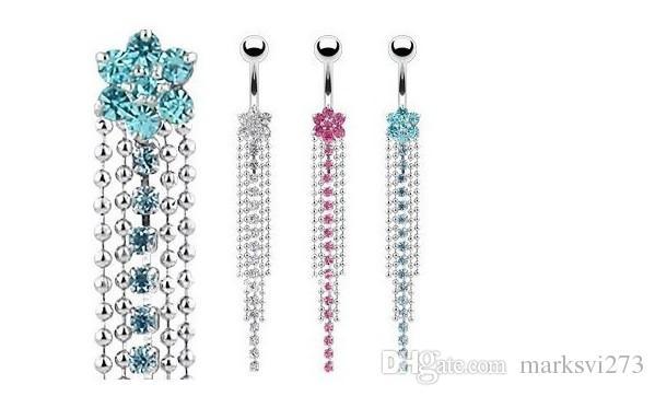Acier inoxydable strass Body Piercing bijoux nombril nombril anneaux Navel Boucle d'oreille Dangle accessoires Fashion Charm