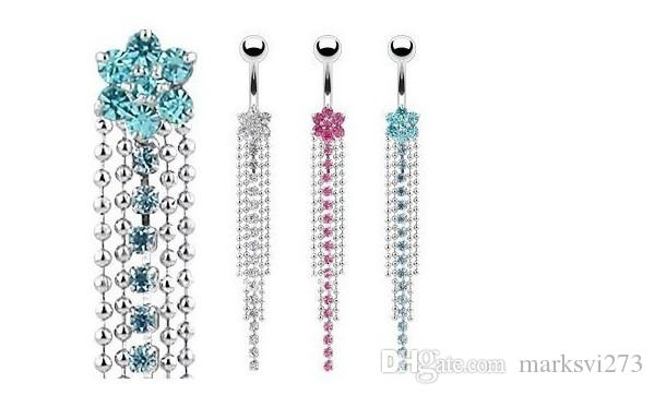 Stainless Steel Rhinestone Body Piercing Jewelry Belly Button Navel Rings Navel Buckle Earrings Dangle Accessories Fashion Charm