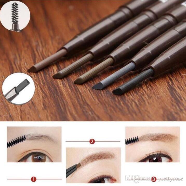 Promoción doble cabeza automática rotary ceja lápiz impermeable ceja Enhancer dos extremos con Shaping cepillo herramienta de belleza de maquillaje es