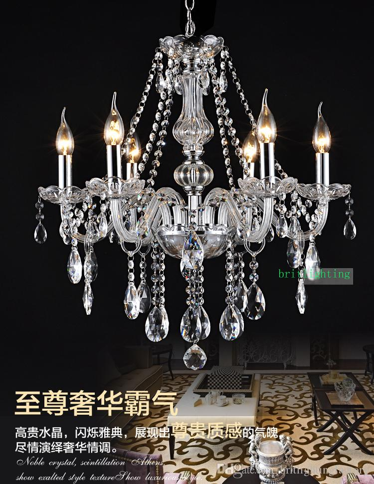 Luxury Crystal Chandelier Bedroom Modern 6 Lights For Living Room Gold Interior Lighting Led Ceiling Chandeliers Hanging Drum Shade