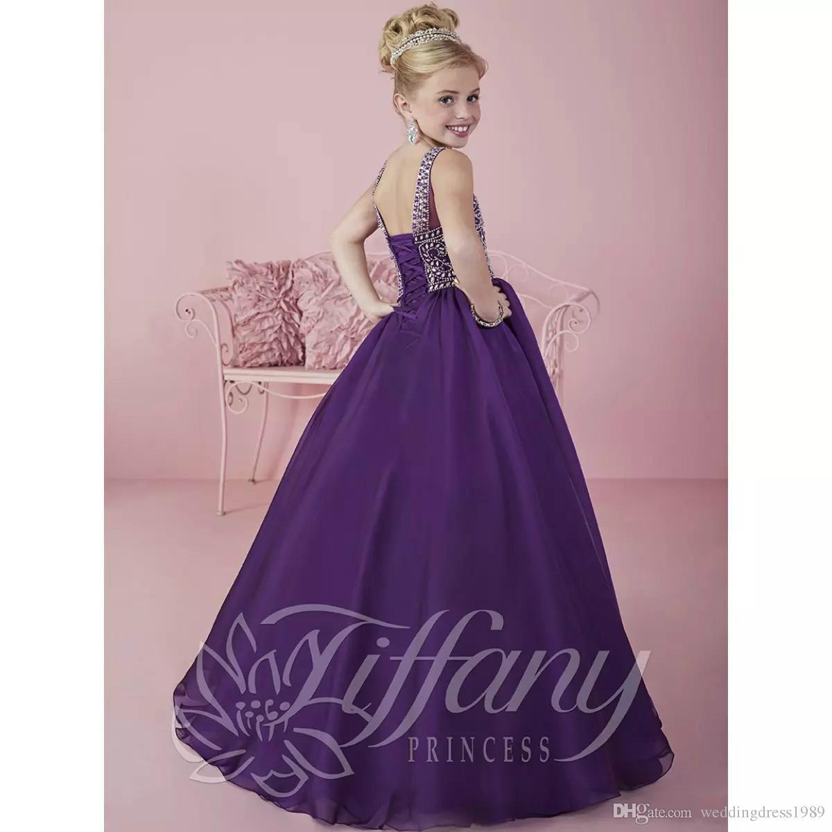 2018 nouvelle arrivée scoop décolleté petites filles robes Pageant en mousseline de soie violet foncé première communion robe robe de bal robe de bal pour les enfants C60