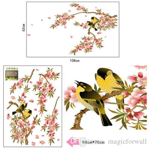 Oiseau Fleur Arbre Branche Sticker Autocollant Décoration de La Maison Mur Art Affiche Murale Autocollants Pépinière Enfants Chambre Décor