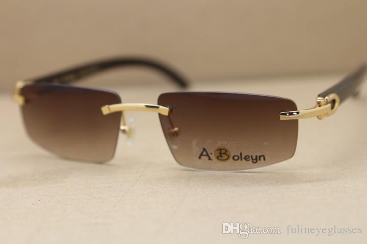2020 New T8100926 Rimless Black Genuine Natural Buffalo horn Sunglasses fashion sunglasses woman driving glasses Size:55-18-140mm