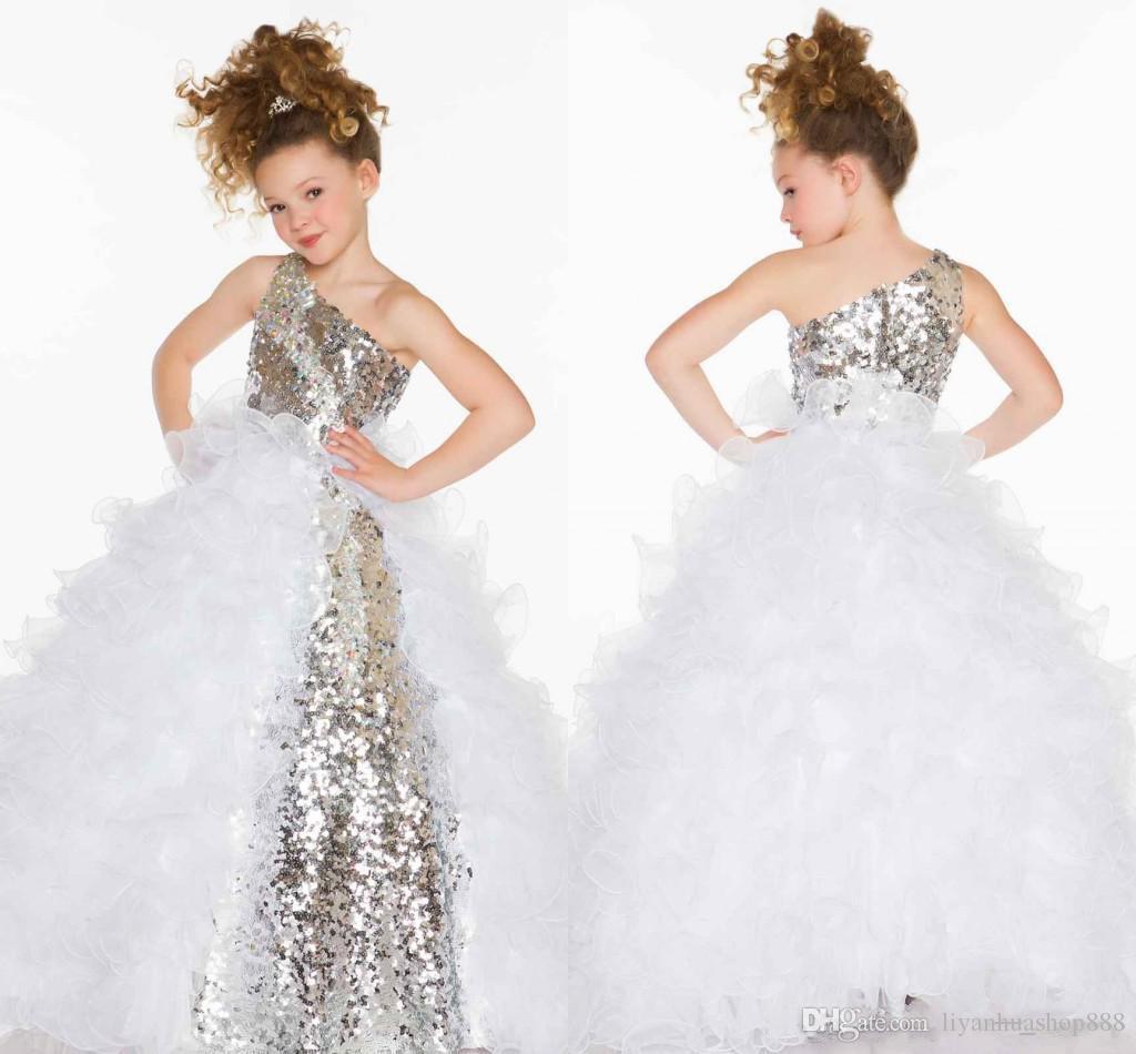 2015 милые прекрасные блестки кристалл оборками линия театрализованное платье девушки / тюль девушки с одним плечом