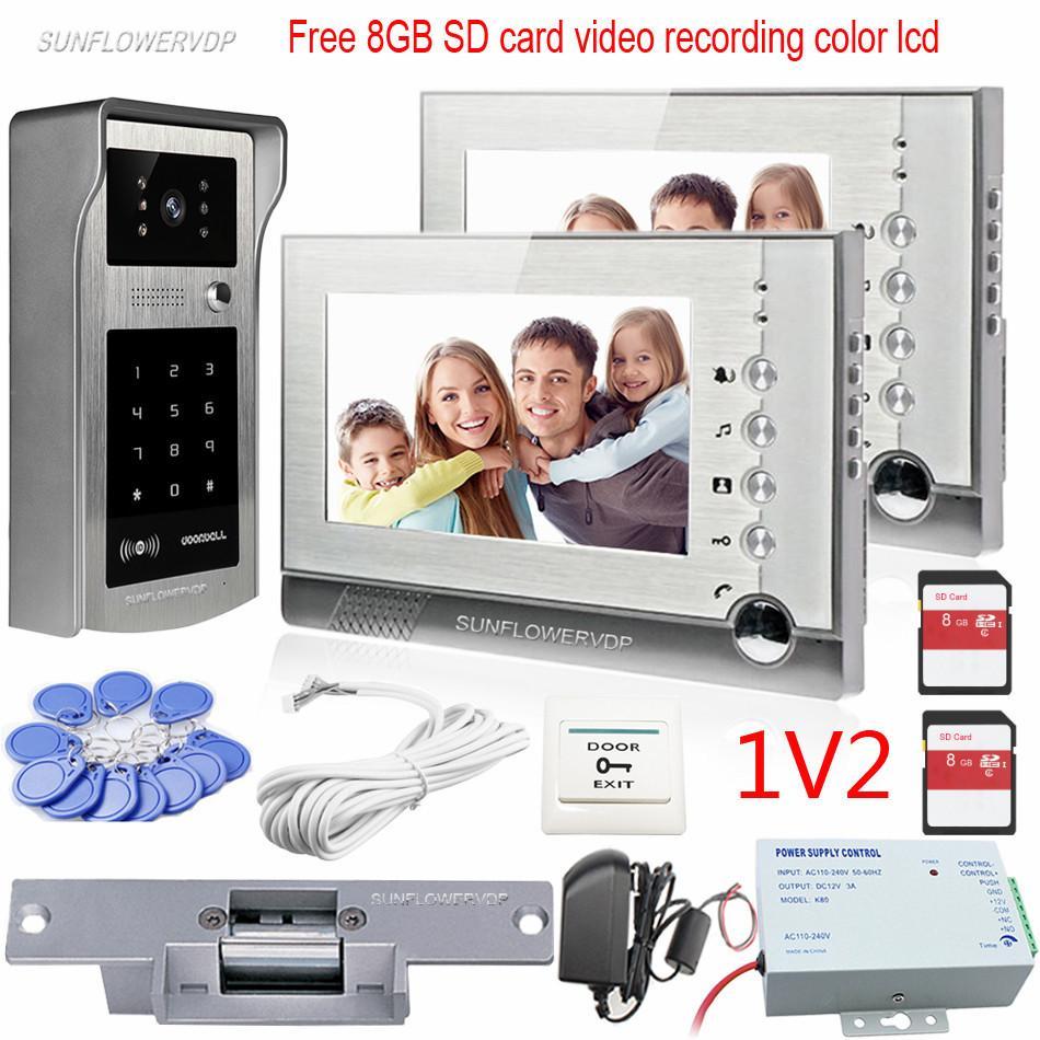 video door phone 2 monitors home intercom video recording 8gb sd