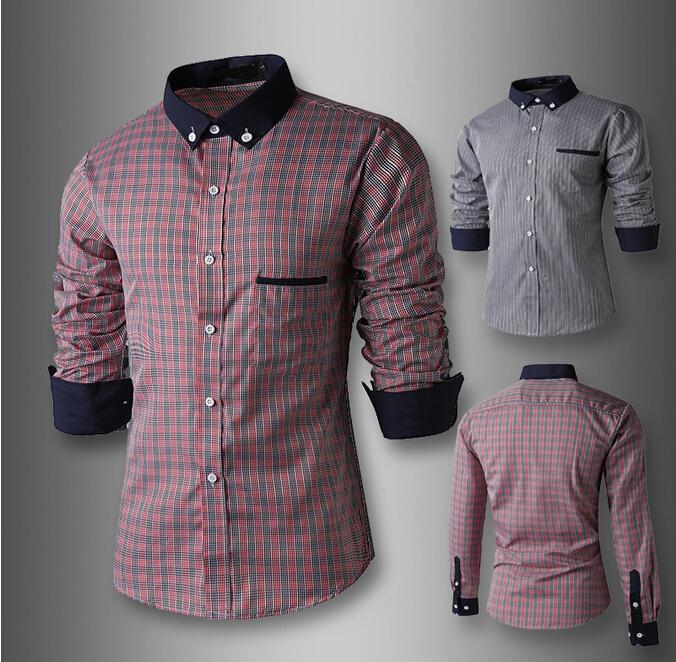 2015 Uk Style Fashion Brand Men Clothes Long Sleeved Cotton Shirt