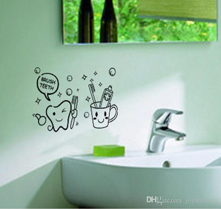 cute brush teeth bathroom wall stickers home decorations removable vinly wall decals