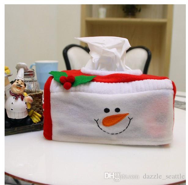 Merry Christmas Ornament Home Decoration Tissue Box Cover Car Styling Tissue Holder Christmas Napkin Box Cover