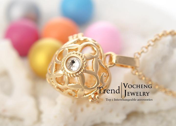 Meksykańskie Gamskie 3 Kolory Plated Angel Ball Miedź Matal Wisiorki Naszyjniki Biżuteria z łańcuchem ze stali nierdzewnej Vocheng VA-004
