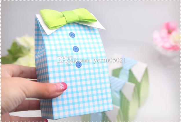 50 ADET / GRUP Sevimli Boy düğün Iyilik Kutusu ile papyon bebek duş vaftiz parti şeker kutusu