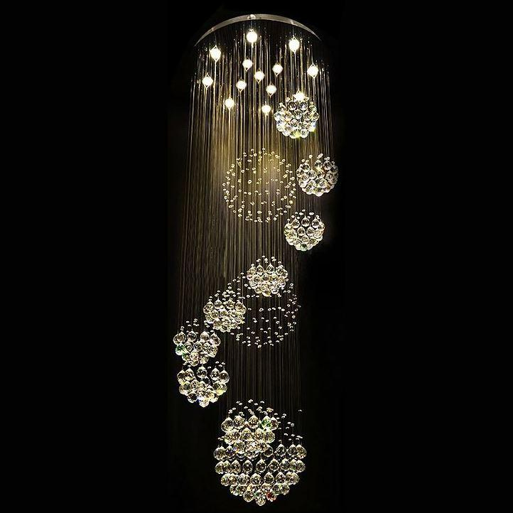 New modern lustre crystal ball design chandelier large lustres de cristal lights d80 h300cm guarantee 100 led bulbs paper chandelier linear chandelier