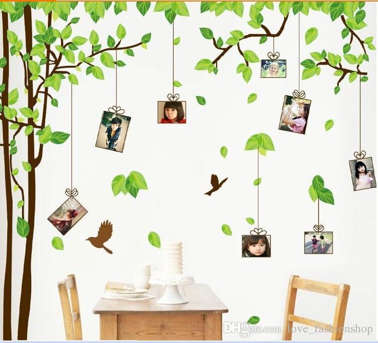 180 * 300cm árbol verde pegatinas pared movible palo familiar pared calcomanías de dibujos animados para niños sala de juegos