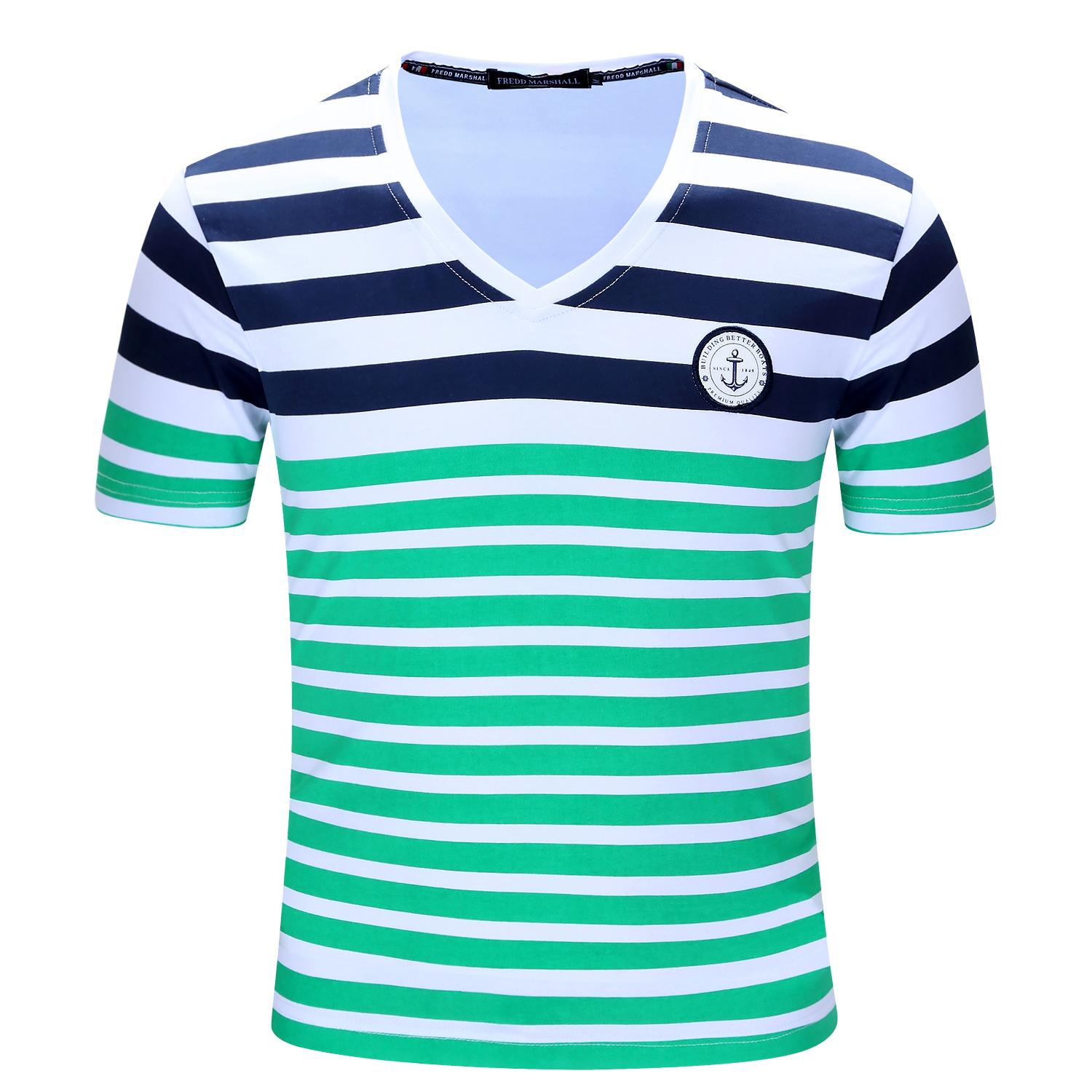 New brand men t shirt mens stripe printing tees homme for 100 cotton v neck t shirts wholesale