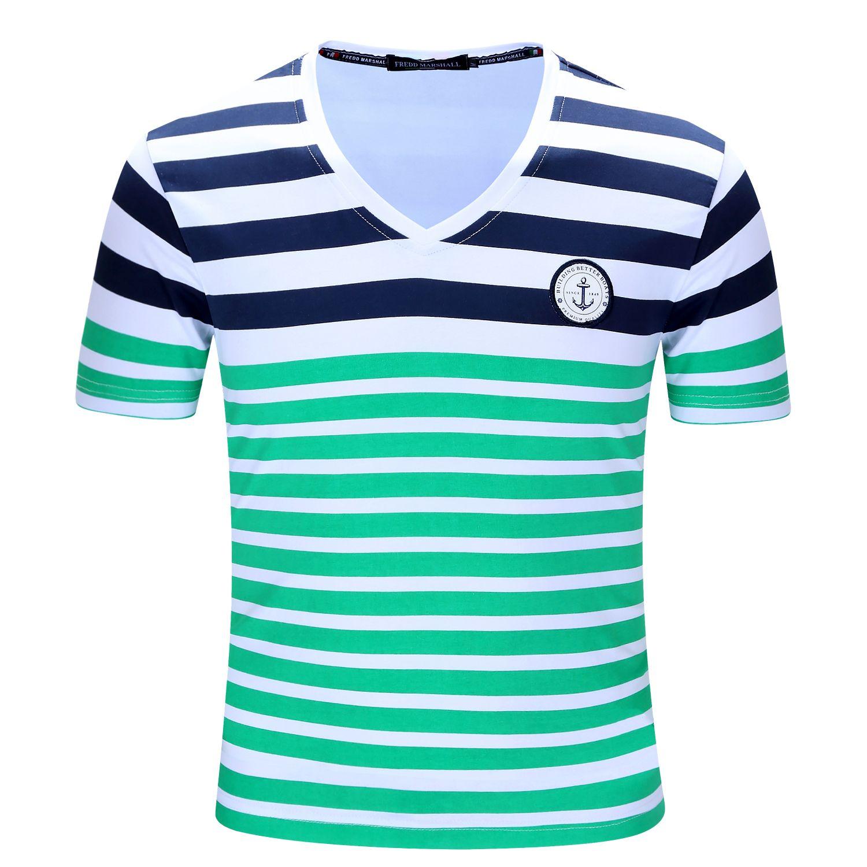 New brand men t shirt mens stripe printing tees homme for Best striped t shirt