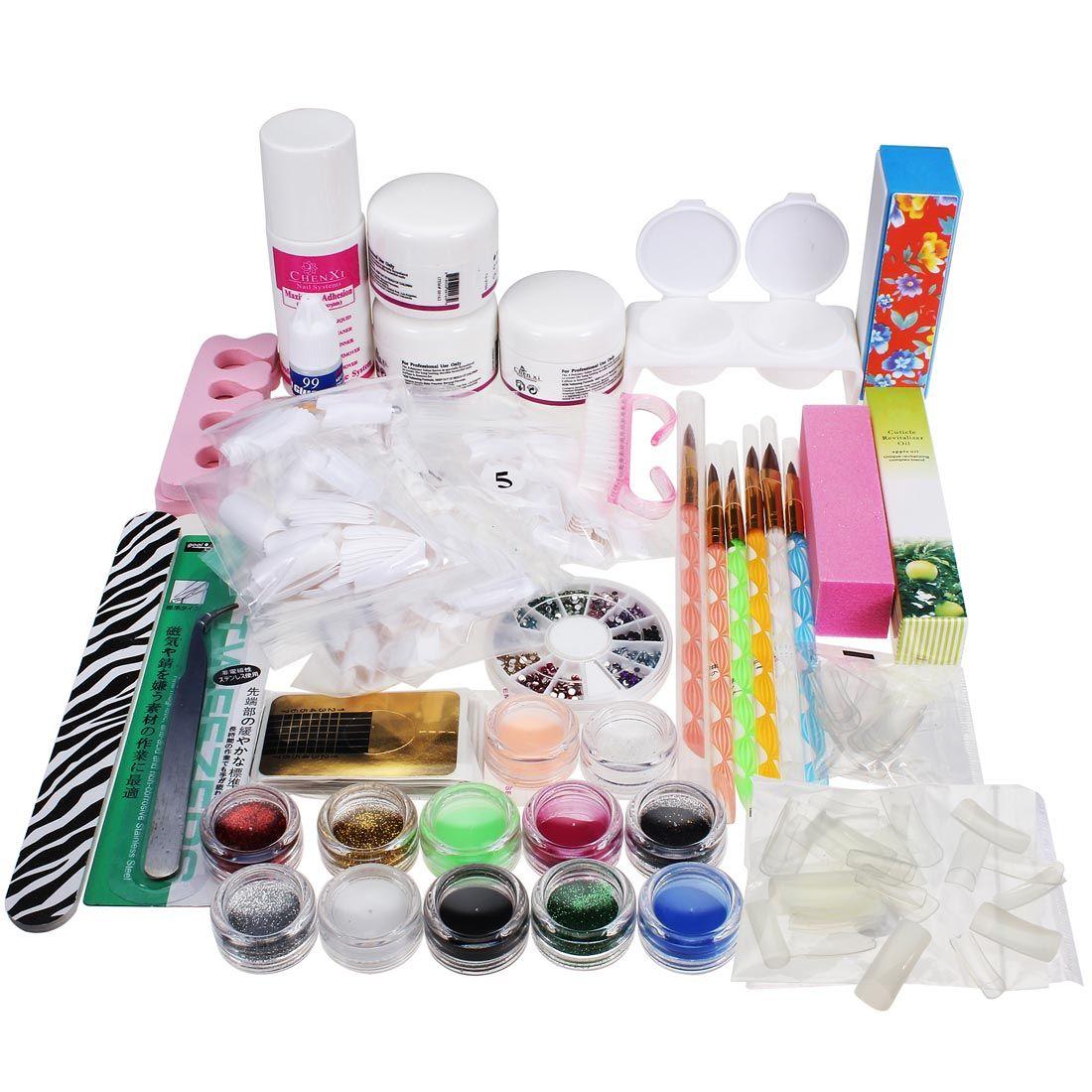 Professional Nail Art Set Kit Acrylic Powder Liquid Glitter Glue ...