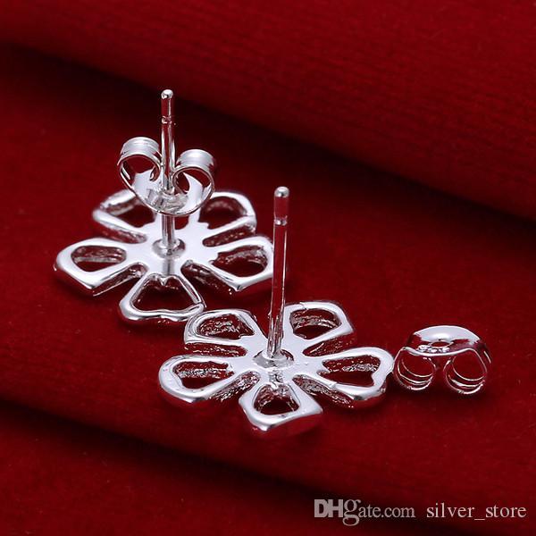 브랜드의 새로운 스털링 실버 플레이트 꽃 귀걸이 DFMSE053, 여성 925 실버 매달려 샹들리에 귀걸이 10쌍 많은