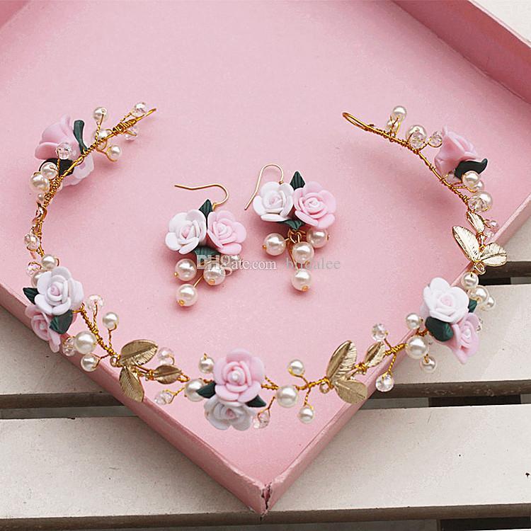 2016 New Trendy Bride Headdress Flower Earrings Korean Manual Small Pure and Fresh Colour ls Hair Hoop Wedding Hair Accessories