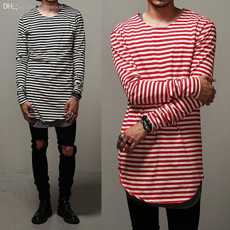 Wholesale Swag Clothes Mens Curve Oversized Striped T Shirt Elongated Red  Gray Black Extended Tee For Men Base Layer Long Sleeve Shirts Tee Designs  Neck T ... 3c3489ddf
