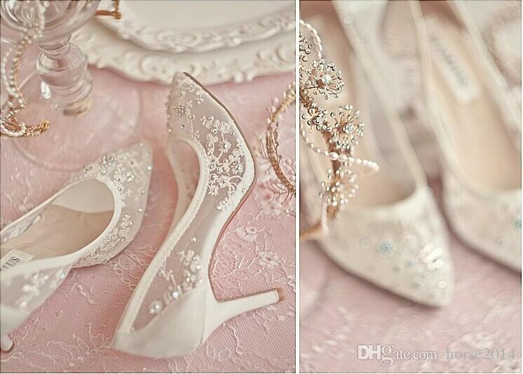 Belle scarpe da sposa tacco alto pizzo strass primavera scarpe da sposa sexy cava trasparente scarpe a punta scarpe da ballo formale