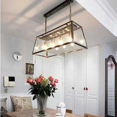 Modern Rh Filament Chandelier Edison Bulb Glass Box Living