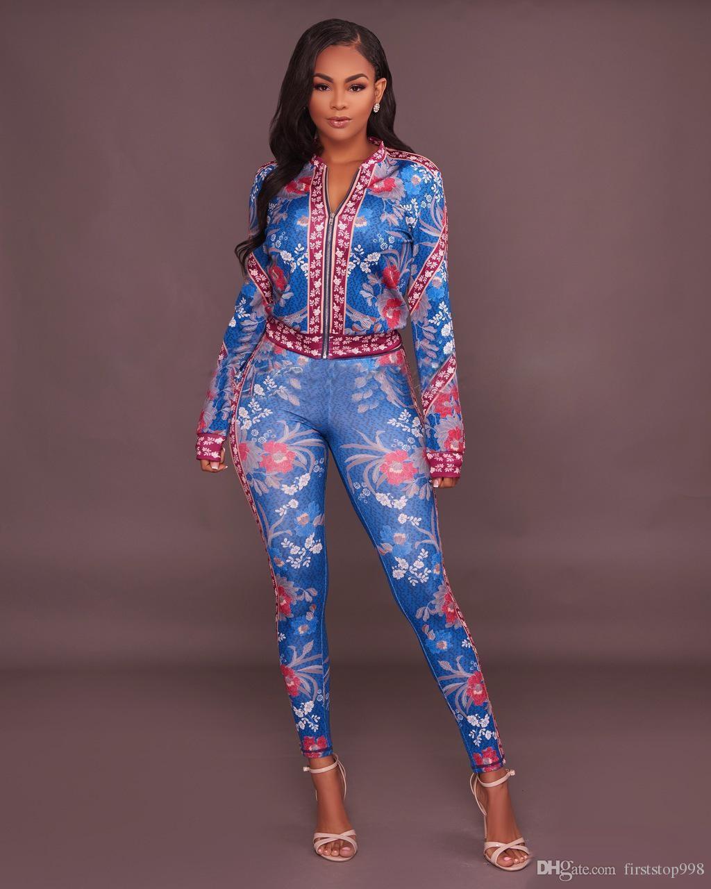 6b641f5892de Acquista 2017 Fashion Tuta Da Donna Set Due Pezzi Autunno Manica Lunga  Stampato Crop Top Pant Suit Casual Vestito Di Sudore Donne Il Tempo Libero  Plus Size ...