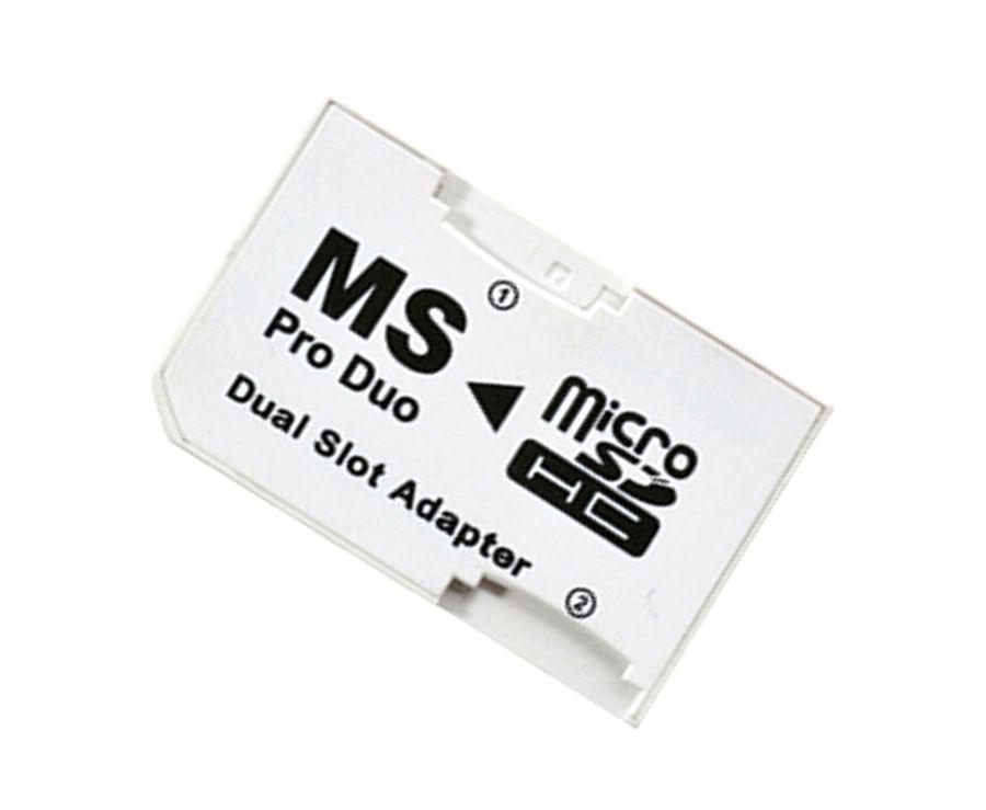 PSP 1000 2000 3000 için Bellek MS Pro Duo Adaptörü Çift Micro SD TF