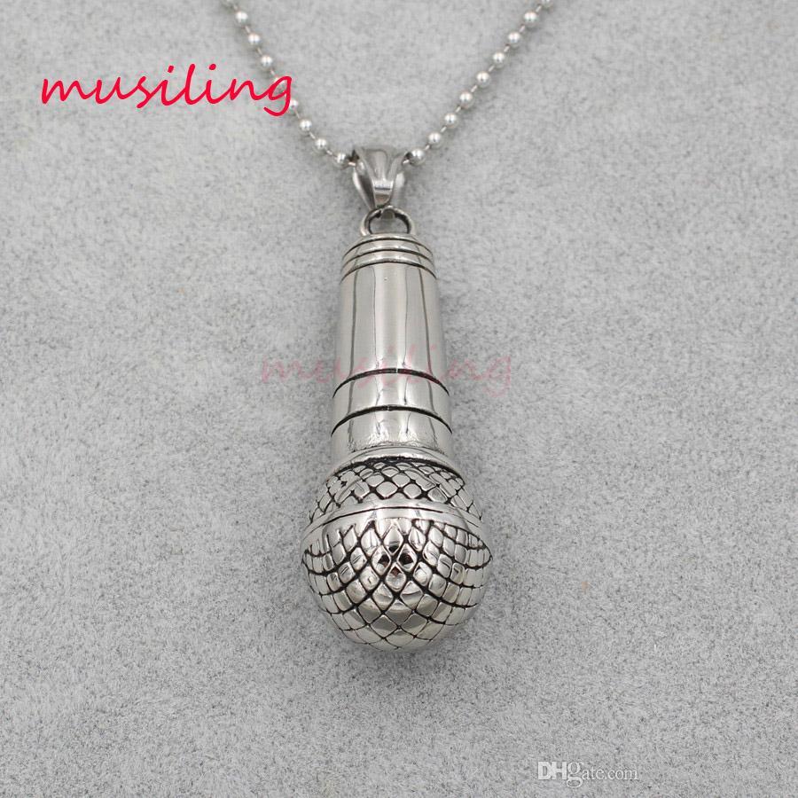 Pendenti di microfono in acciaio inox pendolo d'oro d'argento collana di gioielli charms reiki guarigione chakra amuleto moda uomo gioielli