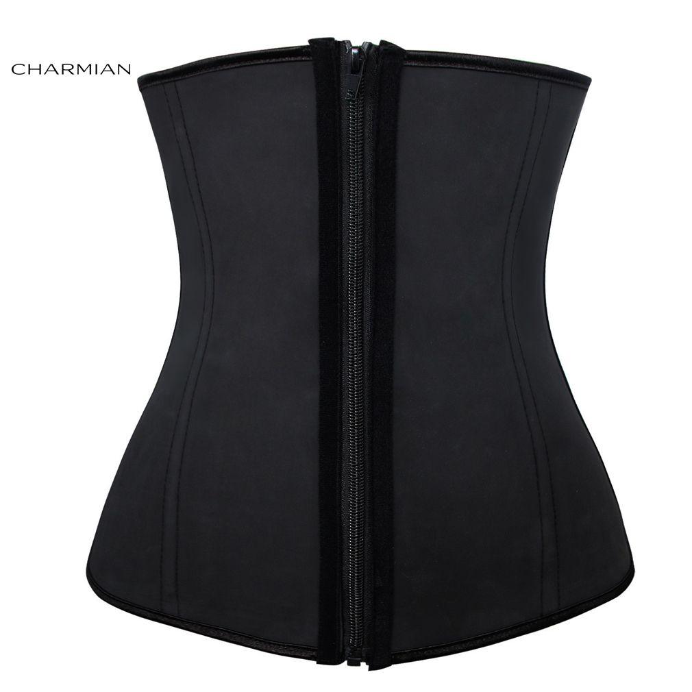 a47cc8bf472a2 Women s Plus Size 4 Steel Bones Zipper Latex Hourglass Waist Trainer ...