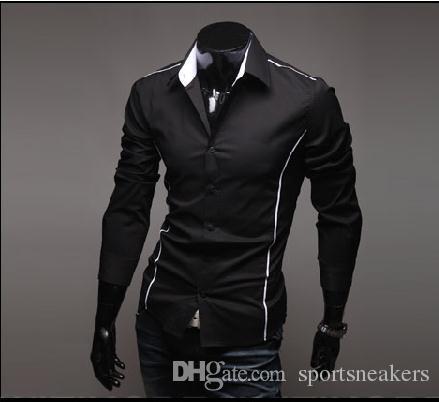 Homem cor Pura moda camisas Dos Homens Casuais Camisas Dos Homens Magros Camisa de Trabalho Desgaste cinza preto branco